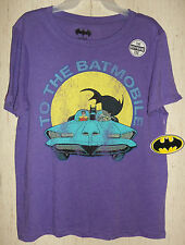"NWT WOMENS / JUNIORS BATMAN ""TO THE BATMOBILE"" PUTPLE HEATHER T-SHIRT SIZE XL"