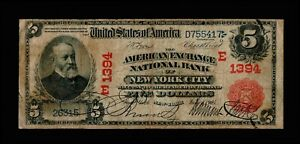1902 $5  Large Size Notes New York, Red seal National Banknotes