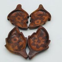 Vintage Teak Wood Serving Dishes Hand Carved Set Fish and Flowers All Different