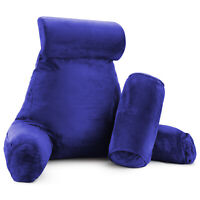 Large Reading & TV Bed Rest Pillow +2 Neck & Lumbar Pillows, W/Pocket-Royal Blue