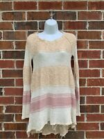 Free People Boho Raw Edge Knit Pullover Sweater Beige Pink Orange Size XS Small