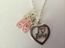 I LOVE DANCING HEART PINK ENAMEL BALLET SHOES  Silver Plated Necklace Girls Gift
