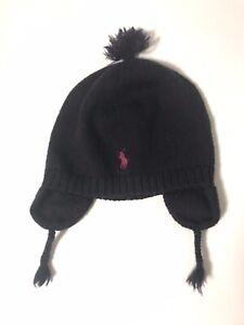 Polo Ralph Lauren Baby Boys Merino Wool Ear Flap Hat Navy