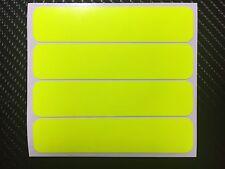4x UV FLUORESCENT Yellow Strips Motorcycle Helmet Stickers SAFETY HiViz Daytime