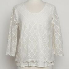 Anthropologie Laced Trellis Sunday in Brooklyn Ivory Knit Top Size S