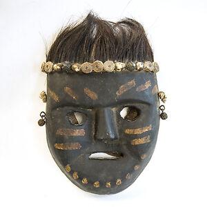 Geweihte Banjakri Holz Maske, Wilder Waldschamane, Yakhaar, patiniert, Nepal