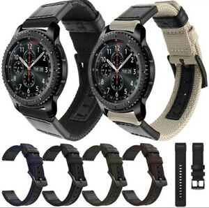 For Samsung Galaxy Gear S3 Classic/Frontier Nylon Leather Band Strap Watch 22mm