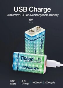TIPSUN Micro USB 6LR61 9v rechargeable battery li-ion battery 3700mWh With cable