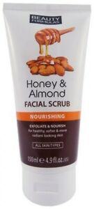 Beauty Formulas Face Scrub Honey & Almond Nourishing 150ml All Skin Types - New