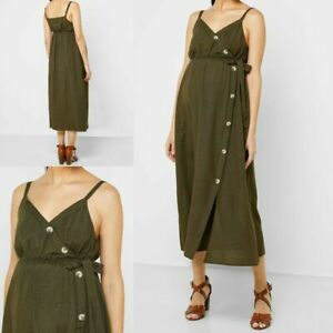 NEW RRP £28 Ex Dorothy Perkins Maternity Khaki Button Front Slip Dress
