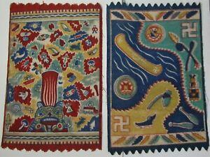 "Tobacco Felts Vintage 2 Native American Navajo Indian Rug Design 8 3/4"" X 5 3/4"""