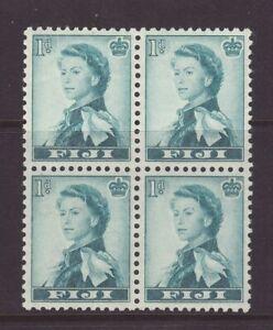 1956 Fiji 1d Wmk Script Block Of 4 Mint SG281