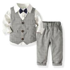 1/4/5PC Toddler Baby Boy Gentleman Vest T-Shirt Pants Wedding Suit Cloth Set