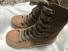Ann Demeulemeester beige suede leather lace-up sneaker boots 35