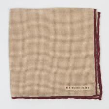 Burberry London $115 New Beige Maroon Small Polka Dot 100% Silk Pocket Square