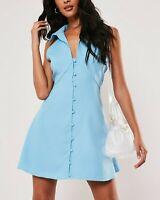 MISSGUIDED Powder Blue Sleeveless Shirt Dress UK 10 US 6 EU 38   (CAMG220)