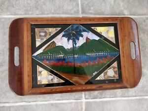 Vintage Inlaid Butterfly Wing Decorative Wood Tray