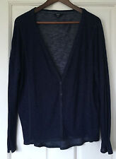 Florence & Fred Jersey Cardigan Top Fine Knit Loose Fit Sport Blue Size 12 14