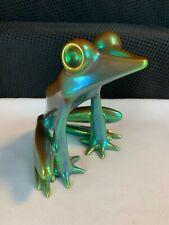 "Vintage Zsolnay Hungary Green Iridescent Eosin Frog Figurine Large 6"""
