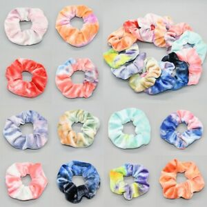 Macaron Tie Dye Velvet Scrunchie Ice Cream Color Light Candy Hair Accessories