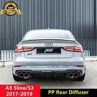 A3 Sline Diffuser Gloss Black Rear Bumper Lip Spoiler for Audi S3 Saloon 2017+