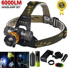 6000 lm XM-L T6 LED Lampe de tête Zoomable 18650 Frontale Torche Lumière la