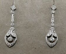 Fine Pear Round Cut Diamond Cluster Drop Dangle Earrings 14K White Gold 0.75Ct