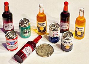 Dollhouse Miniature Beer Can Bottle Lot 👻🧲 (8) Pc Assorted Beer Bottle And Can