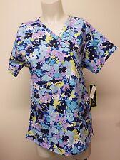 scrub top Bonita Scrubs M Medium Flower Bed Short Sleeve Blue Floral Multi