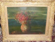 Impressionist Still Life Roses it the vase Authentic antique oil sig illegible