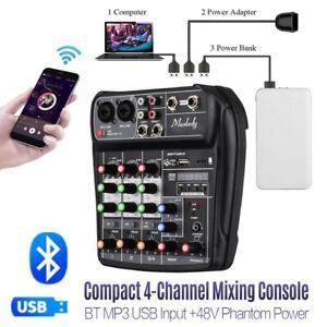 4 Channel Mini Audio Mixer With USB DJ Sound Mixing Console For Karaoke KTV DJ
