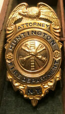 Attorney Huntington New York 1/10 Gold Filled Fire Badge