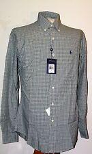 Ralph Lauren Men's Casual Sport Shirt Plaid Green Pony L/S Small SM S  NEW