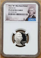 2020 FIRST W MINT PROOF NICKEL, NGC PF69 ULTRA CAMEO, JEFFERSON PORTRAIT LABEL