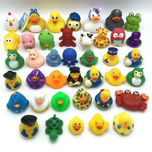 Rubber Animal Figures Lot Of  40 Ducks Frog Pig Owl Bear Bath Pool Floatie Toys