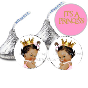 """216 Favor Labels .75"""" Vintage It's A Princess African American Hershey Kiss Rolo"""