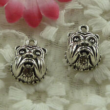 free ship 50 pieces Antique silver dog head charms 18x13mm #3838