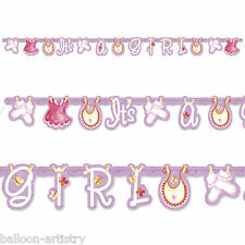Pink It's a Girl CUTE CLOTHESLINE Baby Shower Party Jointed Banner Decoration