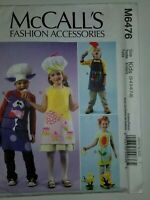 Apron Chef Hat Bakers Baking Kids Size 3-8 McCalls Sewing Pattern M6476 UC FF