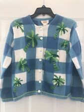 Talbots Women's Cardigan Sweater Blue/White Windowpane w/ Palm Trees - Size PS