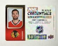2017-18 Upper Deck MVP NHL Player Credentials Level 2 #NHLCC Corey Crawford