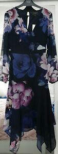 BNWT LIPSY Size 8 CHIFFON FLORAL MIDI FIT AND FLARE FLORAL DRESS NEW