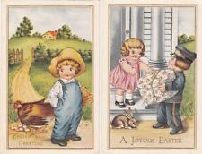 2 Whitney Made Easter Postcards - Chubby Cheeked Children - Bunny & Chicken