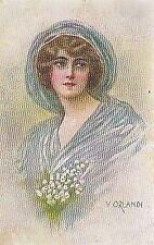 ORLANDI BELLISSIMA CARTOLINA DONNINA A COLORI VIAGGIATA 1924 (?)