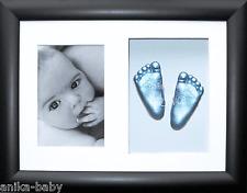 Nouveau bébé garçon 3D moulage plâtre Kit black display case frame BLEU MAIN PIED