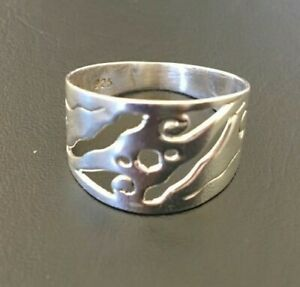 Genuine 925 Sterling Silver Swirls Thick Band Filigree Pattern Ring Size 6 7 8 9