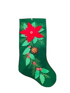 Green Christmas Stocking Wz Poinsettia Applique Wz Buttons