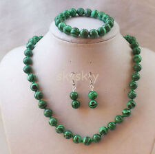 8mm Green Malachite Round Gemstone Beads Necklace Bracelets Earrings Jewelry Set