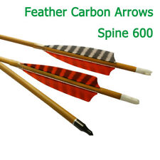 """30""""Wood Carbon Arrows Feather Field Point Sp600 Archery Target Hunting 6pcs/lot"""