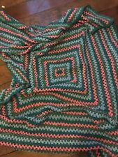 Vintage Crochet Ganny Blue And Pink Multi Colour Wool Blanket